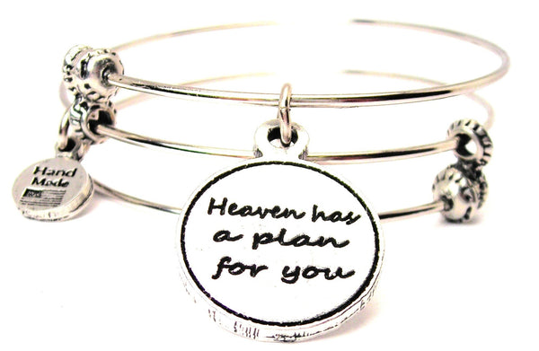 Heaven Has A Plan For You Triple Style Expandable Bangle Bracelet