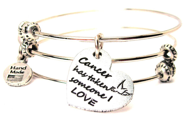 Cancer Has Taken Someone I Love Triple Style Expandable Bangle Bracelet