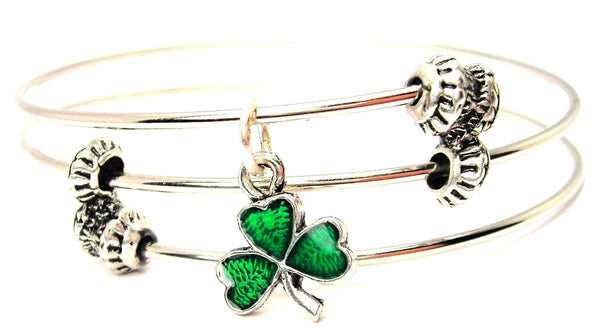 Hand Painted Green Irish Shamrock Triple Style Expandable Bangle Bracelet