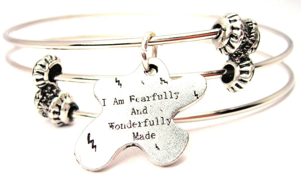 I Am Fearfully And Wonderfully Made Triple Style Expandable Bangle Bracelet