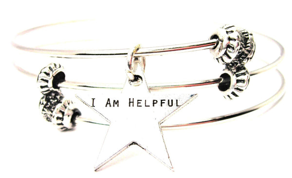 I Am Helpful Triple Style Expandable Bangle Bracelet