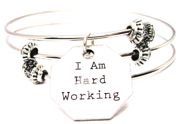 I Am Hard Working Triple Style Expandable Bangle Bracelet