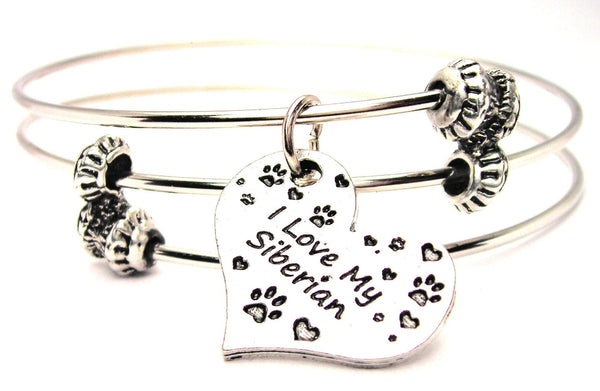 I Love My Siberian Triple Style Expandable Bangle Bracelet