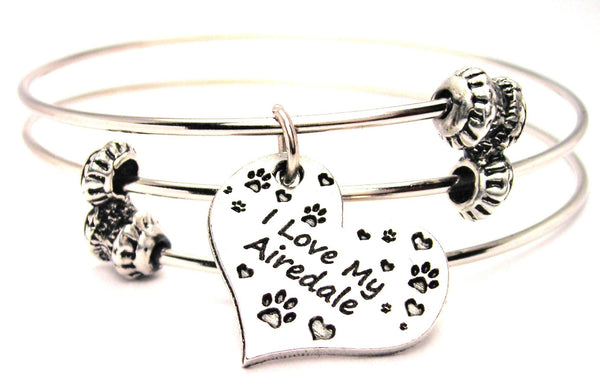 I Love My Airedale Heart Triple Style Expandable Bangle Bracelet