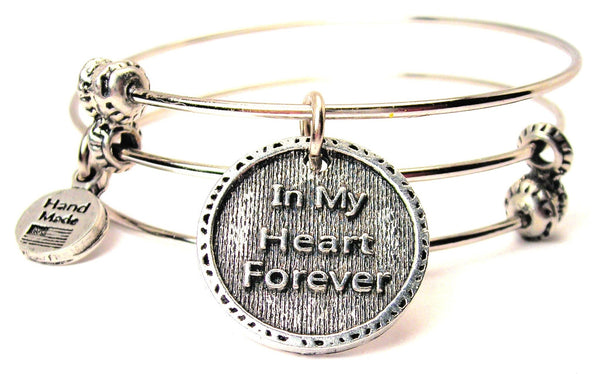 In My Heart Forever Triple Style Expandable Bangle Bracelet