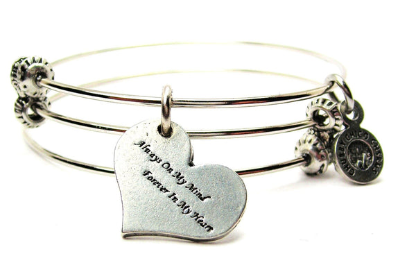 Always On My Mind Forever In My Heart Triple Style Expandable Bangle Bracelet