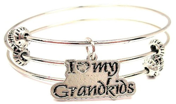 I Love My Grandkids Triple Style Expandable Bangle Bracelet