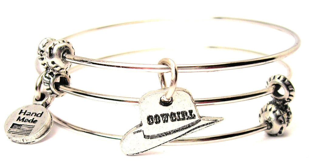 Cowgirl Hat Triple Style Expandable Bangle Bracelet - American Made Pewter  Bracelets from Chubby Chico Charms