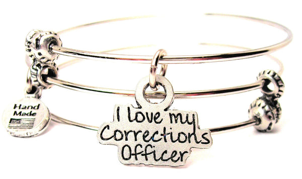 I Love My Corrections Officer Triple Style Expandable Bangle Bracelet