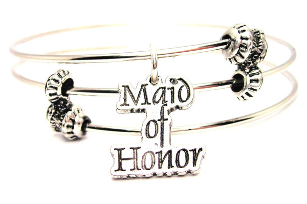 Maid Of Honor Triple Style Expandable Bangle Bracelet
