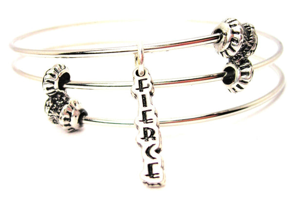 Fierce Letters Going Downs Triple Style Expandable Bangle Bracelet