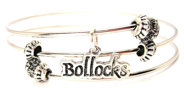 Bollocks Triple Style Expandable Bangle Bracelet