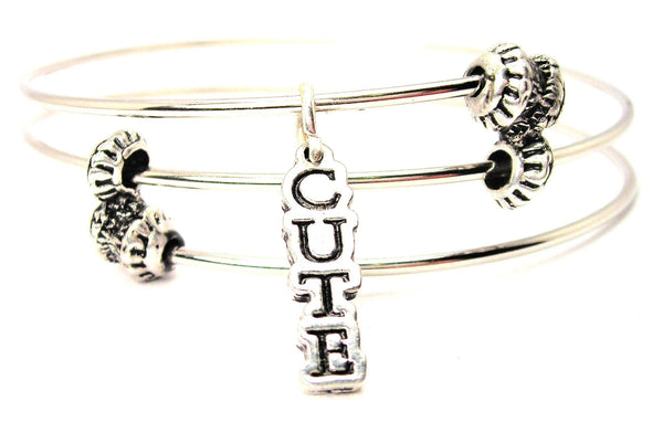 Cute Letters Going Down Triple Style Expandable Bangle Bracelet
