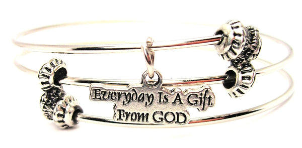 Everyday Is A Gift From God Triple Style Expandable Bangle Bracelet
