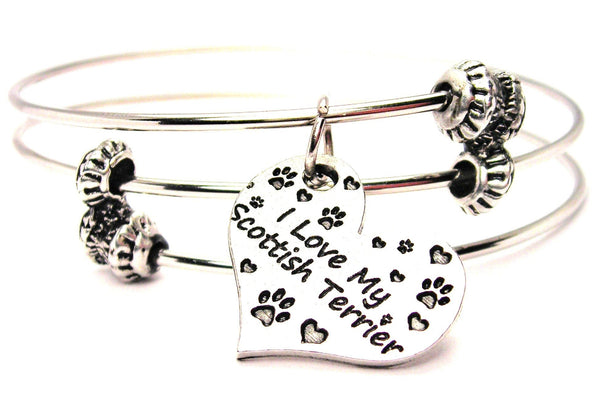 I Love My Scottish Terrier Heart Triple Style Expandable Bangle Bracelet