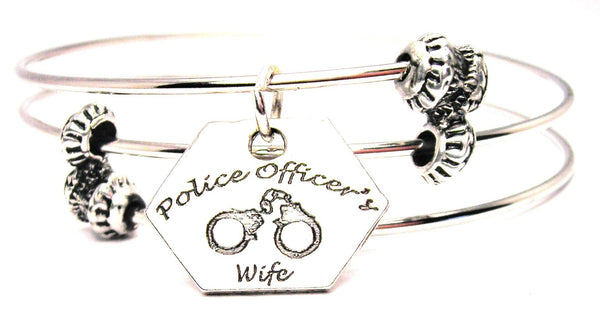 Police Officers Wife Triple Style Expandable Bangle Bracelet