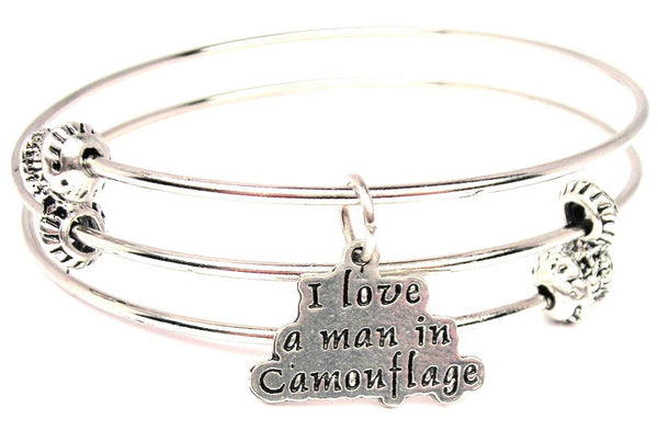 I Love A Man In Camouflage Triple Style Expandable Bangle Bracelet