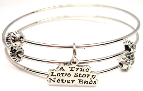 A True Love Story Never Ends Triple Style Expandable Bangle Bracelet