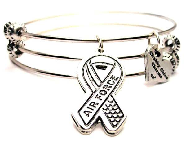 Air Force Awareness Ribbon Triple Style Expandable Bangle Bracelet