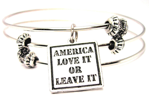America Love It Or Leave It Triple Style Expandable Bangle Bracelet