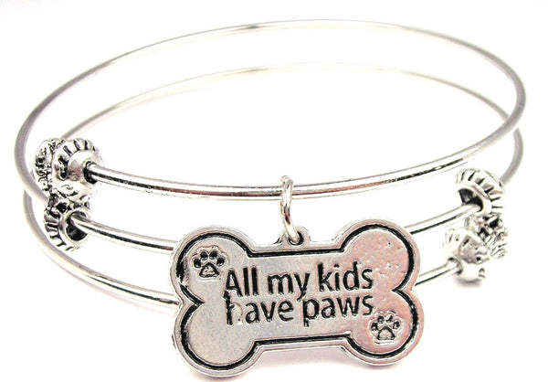 All My Kids Have Paws Triple Style Expandable Bangle Bracelet