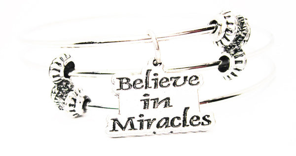 Believe In Miracles Triple Style Expandable Bangle Bracelet