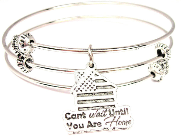 Cant Wait Until You Are Home Triple Style Expandable Bangle Bracelet