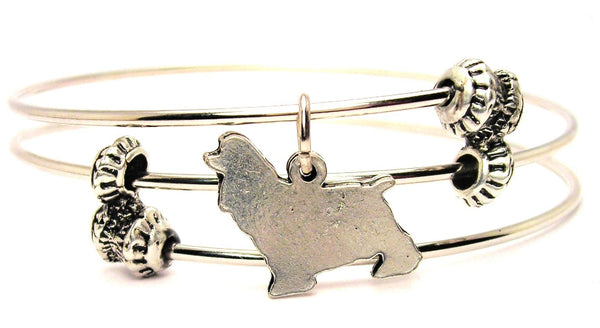 Cocker Spaniel Silhouette Triple Style Expandable Bangle Bracelet