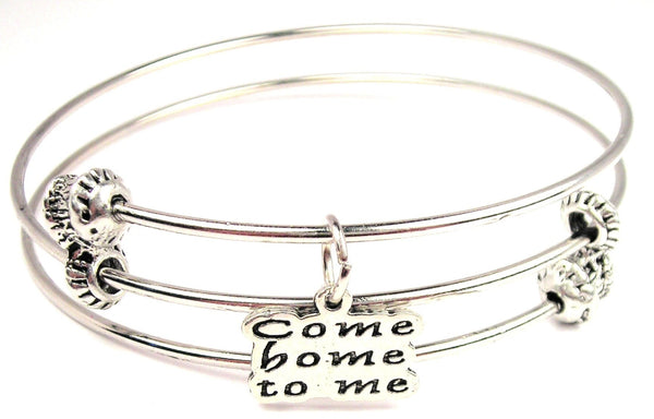 Come Home To Me Triple Style Expandable Bangle Bracelet
