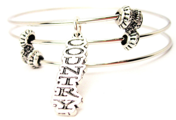 Country Letters Going Down Triple Style Expandable Bangle Bracelet