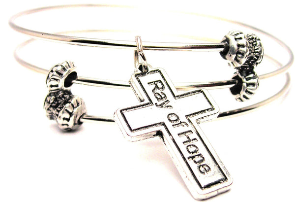 Cross Ray Of Hope Triple Style Expandable Bangle Bracelet