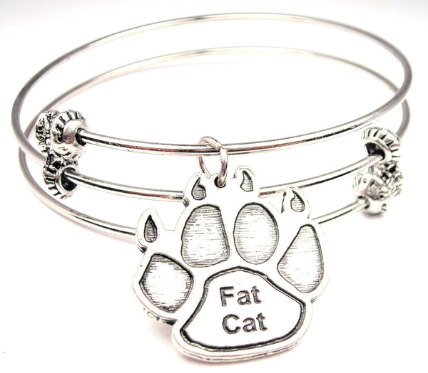 Fat Cat Paw Print Triple Style Expandable Bangle Bracelet