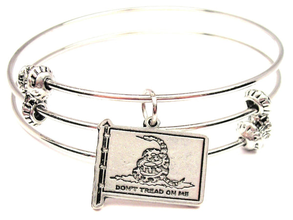 Gadsden Flag Triple Style Expandable Bangle Bracelet