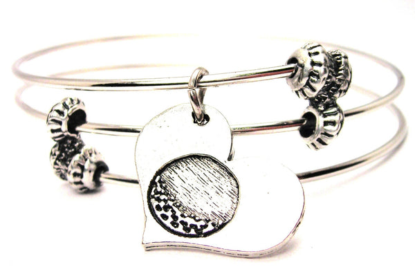Golf Ball In Your Heart Triple Style Expandable Bangle Bracelet