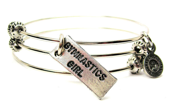 Gymnastics Girl Triple Style Expandable Bangle Bracelet