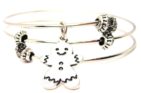 Gingerbread Boy Cookie Triple Style Expandable Bangle Bracelet