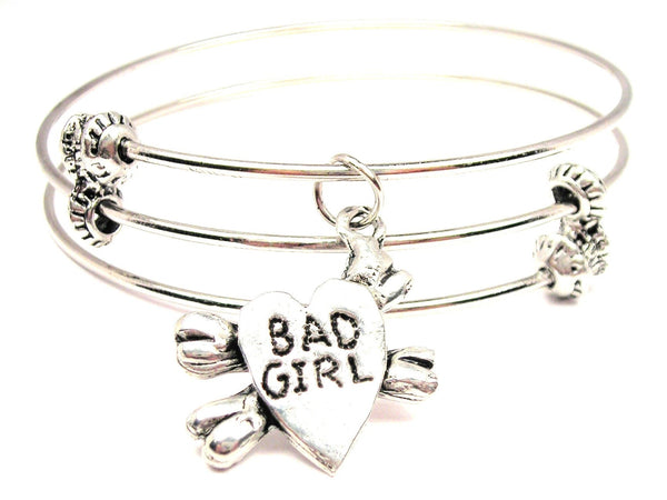 Heart With Crossbones Bad Girl Triple Style Expandable Bangle Bracelet