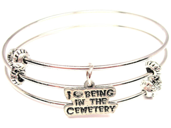 I Love Being In The Cemetery Triple Style Expandable Bangle Bracelet