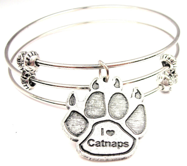 I Love Catnaps Paw Print Triple Style Expandable Bangle Bracelet