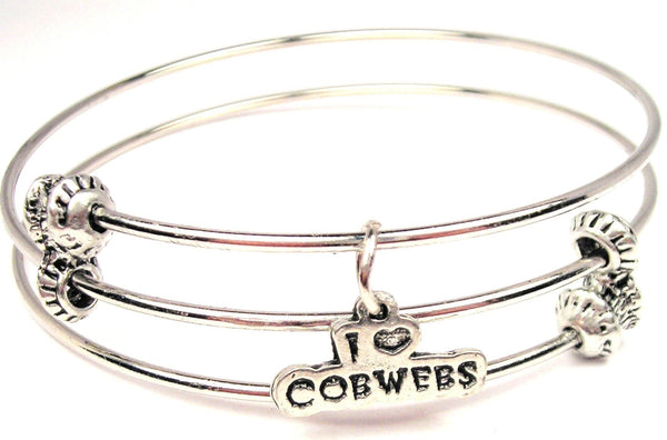 I Love Cobwebs Triple Style Expandable Bangle Bracelet