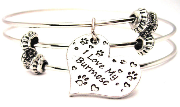 I Love My Burmese Cats Triple Style Expandable Bangle Bracelet