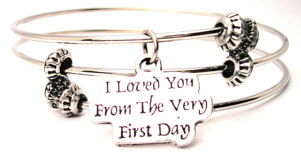 I Loved You From The Very First Day Triple Style Expandable Bangle Bracelet