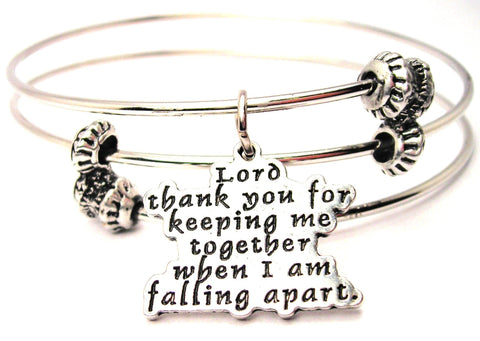 Lord Thank You For Keeping Me Together When I Am Falling Apart Triple Style Expandable Bangle Bracelet