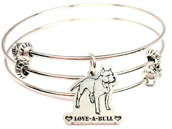 Love A Bull Pit Bull Triple Style Expandable Bangle Bracelet
