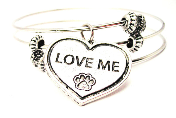 Love Me Heart With Paw Print Triple Style Expandable Bangle Bracelet