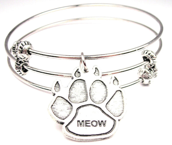 Meow Paw Print Triple Style Expandable Bangle Bracelet