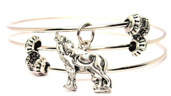 Muscular Howling Wolf Triple Style Expandable Bangle Bracelet