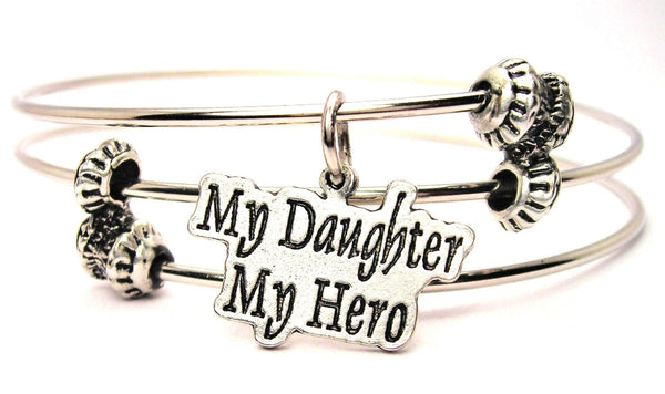 My Daughter My Hero Triple Style Expandable Bangle Bracelet