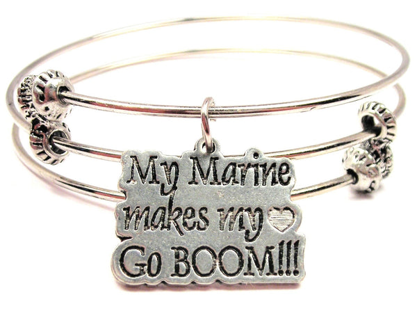 My Marine Makes My Heart Go Boom Triple Style Expandable Bangle Bracelet
