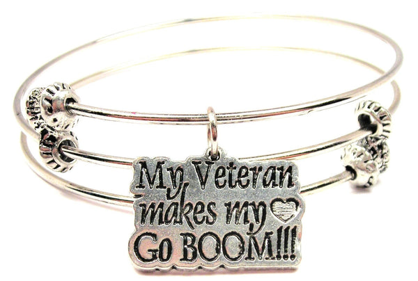 My Veteran Makes My Heart Go Boom Triple Style Expandable Bangle Bracelet
